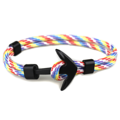 สร้อยข้อมือ หัวสมอสีดำ   ความยาว 21 cm.  Black Anchor Bracelets Men Charm 550 Survival Rope Chain Paracord Bracelet Male Wrap Metal Sport Hooks   PS.- ส่งฟรี!