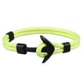 สร้อยข้อมือ (สีนีออน) หัวสมอสีดำ   ความยาว 21 cm.  Black Anchor Bracelets Men Charm 550 Survival Rope Chain Paracord Bracelet Male Wrap Metal Sport Hooks   PS.- ส่งฟรี!