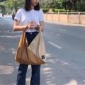 ชื่อสินค้า : Sand n camel fabric : Leather  size : 10 x 50 x 40 cm. strap 38 cm. 3 pocket in bag & snap botton - Handmade with Love - สี : น้ำตาล - ครีม  #กระเป๋า #กระเป๋าผ้า #กระเป๋าสะพาย #กระเป๋าถือ #unisex