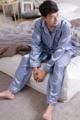 """ชุดนอนผ้าซาตินผู้ชาย สีฟ้าหม่น แขนยาว - ขายาว Freesize  อก 46"""" เอวยืด 40"""" สะโพก 45""""  ความยาวกางเกง 45""""  #ชุดนอน #ชุดนอนผู้ชาย  #ชุดนอนแขนยาว #ชุดนอนขายาว"""