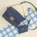 Miss.Heart Collection♡ color : Lunar Blue (สีน้ำเงิน) size : 8x23.5x16 cm  กว้างxยาวxสูง Material : Imported PU  💜มี 2 สาย สายสั้นและสายยาว สายสั้นถอดออกได้ สายยาวปรับความยาวได้ 2 ระดับ ภายในมีกระเป๋าใบเล็ก สามารถถอดออกได้ ที่เสียบฉลุหนังเป็นลายหัวใจน้า แถมที่ห้อยด้านข้างกระเป๋าเป็นรูปหัวใจน้า