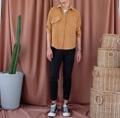 """ตัดเย็บด้วยผ้าลูกฟูก สีน้ำตาล Shirt Size: ไหล่18""""/อก42""""/ยาว26"""""""