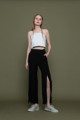 TISA pants is a high-waisted straight pants with front overlapped slits. Fit: Normal Fit  Length: XS 38.5″, S 39″, M 39.5″