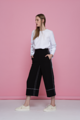E culottes are high-waisted pajama-inspired culottes with contrast topstitching. Fit: Normal Fit (loose at hips)  Length: XS 33″, S 33.5″, M 34″