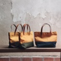 Two-Tone mini handBag (s)  Dimension: Width x Height x Base (cm.) 28 x 17 x 8   #canvasbags #madetoorderbags #bag #กระเป๋า #minimal #embroidery #tophandlebag #handbag #leather #style #streetstyle #custom #customized