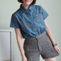 ":: Basic Shirt - Fox home :: • Cotton oxford • Colors : น้ำเงินเข้ม Dark Blue • Chest 39"" • Length 24"" • 550THB.  #เสื้อผ้าผู้หญิง #เสื้อผู้หญิง #เสื้อเชิ้ต #เสื้อเชิ้ตผู้หญิง #เสื้อเชิ้ตแขนสั้น"