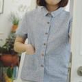 """mini pockets shirt • 1 color • Cotton x Linen • Chest Width 38"""" • Length 22"""" • 590-."""