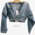 """ขนาด : อก 34-40""""  เอวครอป 24-30""""อัพ ยาว 15""""   *งานบางช่วงอาจจะต้องรอทำใหม่นะคะ  เนื่องจากทางร้านทำไม่ทันพร้อมส่งจ้า ลูกค้าสามารถทักแชทสอบถามได้นะคะ  #jeans #jacketjeans #ammabshop #Levi"""