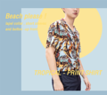 Tropical - print shirt  color : blue material : cotton rayon  price : 790 THB