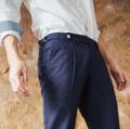 Indigo - bespoke trousers material : wool fabric  color: Indigo price : 1,590 THB