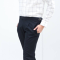 Navy - double belts trousers color : navy size : S / M / L material : wool fabric  price : 1,390 THB