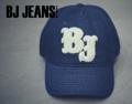 หมวกผ้า Cotton Twill  ตัวอักษรนูน BJ  สีขาว  สีกรมท่า One Size