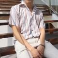 เสื้อเชิ๊ตแขนสั้นคอปกฮายวาย ลาย summer pastel  ขนาด อก42 ไหล่18 ยาว28