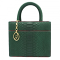 DETAIL: JZ-P L001 / Body: GREEN PYTHON Interior: Red Leather / Hardware: Gold DIMENSION / Width: 24.5 cm Height: 19 cm / Base : 9.5 cm