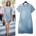 ราคา 700฿ 6851927BL Cherry Dress เดรส ผ้าฝ้ายคล้ายยีนส์ มีซิปหลัง ปักแปะมุกด้านหน้า มีกระเป๋าข้าง สีฟ้า  M : อก 36 เอว 38 ไหล่ 15 สะโพก 40 ยาว 32 นิ้ว  L : อก 38 เอว 40 ไหล่ 16 สะโพก 42 ยาว 33 นิ้ว #Dresses #bethefirstshop
