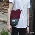 ➖ Shoulder bag ➖ TWO-TONE ✔️ Maroon Red x Gray  **สายกระเป๋าสามารถปรับความยาวได้**  350 THB & Free register **   #Bag #totebag #Shoulderbag #red #blue #sand #canvas #กระเป๋า #กระเป๋าผ้า #กระเป๋าสะพาย