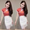 """New!!!! เสื้อคอจีน ต้อนรับเทศกาลตรุษจีนนี้ ผ้าไหมเงา งานสวย ใส่มาน่ารักมากๆ เป็นอาหมวยอินเทรนด์ ทางร้านใช้กระดุมอย่างสวย ใส่แมทช์กับเอวต่ำ หรือเอวสูงก้ได้นะคะ เสื้อไม่สั้นจ้า ซิปหลัง  อก 31-34"""" เอว 23-28""""  2 สี : แดง ทอง  350 บาท"""