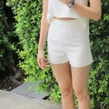 Short Bread in Cream (Bottom)   - high waist shorts  - side zipper  - full lining  - available in S / M / Custom-made