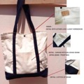 Selvedge denim tote : white canvas with denim strap   Price - 590 bath