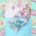 รายละเอียดสินค้า  ชื่อสินค้า 01 EAT CAKE TOTE BAG front-digital print polyester100% back-pink metallic leather size 15x17 inches strap length 24 inches