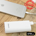 cheero Power Plus 3 mini 6700mAh Power Plus 3 mini แบตสำรองสุดป๊อบ รุ่นจิ๋วแต่เจ๋ง พกพาง่าย  เต็มพลัง ชาร์จ iPhone6 ได้ถึง 2.5 รอบ   แบตเตอรี่: Lithium-ion ของ Panasonic จากญี่ปุ่น ขนาด: 9.2 ซม. (ก), 4.3 ซม. (ย), 2.3 ซม.(ส) น้ำหนัก: 130 กรัม มีช่องเสียบสำหรับ USB 1 Port, AUTO-IC สูงสุด 2.1A  ไฟบอกสถานะของแบตเตอรี่ จะมีปุ่มกดไฟ LED 4 ดวง เพื่อบอกสถานะแบตคงเหลือ มีระบบตัดวงจรไฟและตัดไฟเมื่อชาร์จแบตเต็มการใช้งาน: ประมาณ 500 ครั้งระยะเวลาการชาร์จ: ประมาณ 3.5 ชม. (ถ้าใช้ Adapter 2A) อุปกรณ์ภายในกล่องมี สาย Micro USB และ คู่มือการใช้งานภาษาอังกฤษ รับประกันสินค้า 1 ปี* * AUTO-IC คือ ปล่อยประจุไฟตามอุปกรณ์ที่ชาร์จ เช่น iPhone จะรับไฟได้ 1A