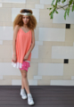 Backless Tier Dress - Orange 3 layered chiffon Tier Dress Backless detail with gold straps Loose fitting M *Handmade*