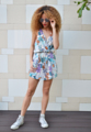 Printed Jersey Wrap Playsuit Double layer top, elastic waist and front pockets Comfortable fit Free-Size to fit UK 6-10