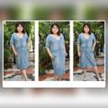 """เดรสยีนส์เข้ารูปแขนยาวถึงข้อศอก สีฟ้ายีนส์ รอบอก 42"""" เอว 38"""" สะโพก 44"""" เดรสยีนส์คลาสิคค่ะ ไม่มีตกเทรน หยิบใส่ได้เรื่อยๆ #Plussize Jeans Dress Blue #cherrysom"""