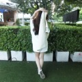 "cozy mini dress color : white / baby bule / creamy long : 31"" size : S / M for more info.please contact line : ployypaloyy #cozy mini dress #actuallywears"
