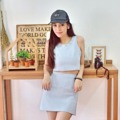 pastel tank top color : pastel pink / pastel blue / white size : S / M / L  pastel a-line skirt color : pastel pink / pastel blue / white size : S / M / L for more info.please contact line : ployypaloyy #pastel blue set #actuallywears