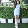 "cozy mini dress color : white / baby bule / creamy long : 31"" size : S / M for more info.please contact line : ployypaloyy #mini dress #actuallywears"