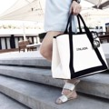everyday basics ✔️ Information | price 2690-. | black strap | embroidery  #yourpersonalstatement #personalized  #minimalist #Personalized canvas bag #triangle.tohold