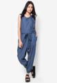 jumpsuit คอ 25.5 นิ้ว รอบแขน 22 นิ้ว อก 40 นิ้ว เอว 35 นิ้ว ปลายขา 18 นิ้ว ยาว 56 นิ้ว blue pokadot cotton japanfabric