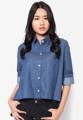 top t shirt แขนกว้าง 20.4 นิ้ว ปลายแขน 8.4 นิ้ว  อก 49 นิ้ว ยาว 20 นิ้ว blue pokadot cotton japanfabric