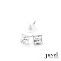 Juvel Clear Square 0.9 Earrings  Product Details:  Dimension: 0.9 x 0.9 x 0.8 cm  Gems/Crystal: Swarovski Crystal  Color: Clear  Packaging: Black Velvet Pouch