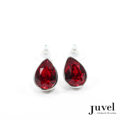 Juvel Glamore Light Siam Tear Drop Earrings  Product Details:  Dimension: 1.2 x 1.5 x 0.7 cm  Gems/Crystal: Swarovski Crystal  Color: Light Siam   Packaging: Black Velvet Pouch