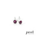 Juvel Amethyst 0.8 Earrings  Product Details:  Dimension: 0.8 cm  Gems/Crystal: Swarovski Crystal  Color: Amethyst  Packaging: Black Velvet Pouch