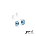 Juvel Aquamarine Oval Earrings  Product Details:  Dimension: 0.7 x 0.9 cm  Gems/Crystal: Swarovski Crystal  Color: Aquamarine  Packaging: Black Velvet Pouch