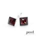 Juvel Square Burgundy 1.4 Earrings  Product Details:  Dimension: 1.4 x 1.4 cm  Gems/Crystal: Swarovski Crystal  Color: Burgundy  Packaging: Black Velvet Pouch
