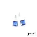 Juvel Sapphire Square 0.9 Earrings  Product Details:  Dimension: 0.9 x 0.9 x 0.8 cm  Gems/Crystal: Swarovski Crystal  Color: Sapphire  Packaging: Black Velvet Pouch