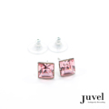 Juvel Rose Square 0.9 Earrings  Product Details:  Dimension: 0.9 x 0.9 x 0.8 cm  Gems/Crystal: Swarovski Crystal  Color: Rose  Packaging: Black Velvet Pouch